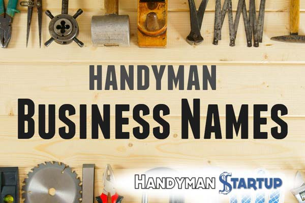 Handyman business names with tools in background