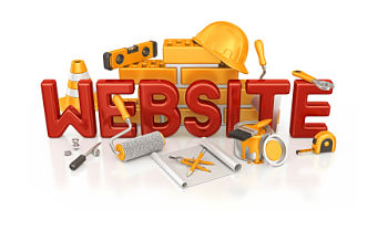 Website surrounded by construction tools
