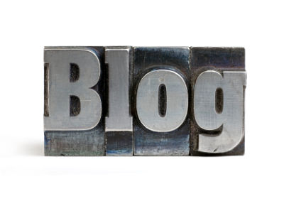 Blog in steel block letters