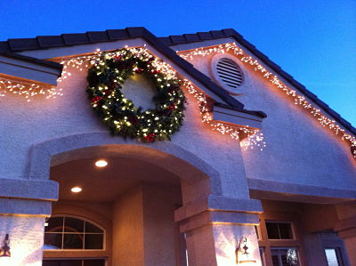 Christmas lights and wreath