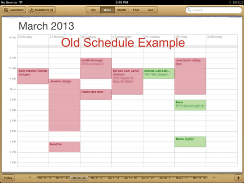 Old Handyman Schedule Example