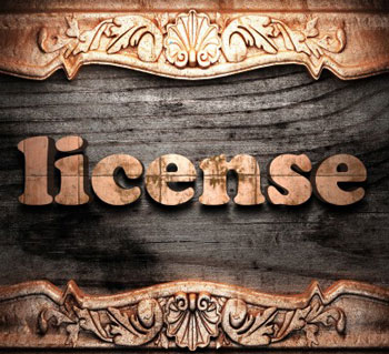 License on wood background