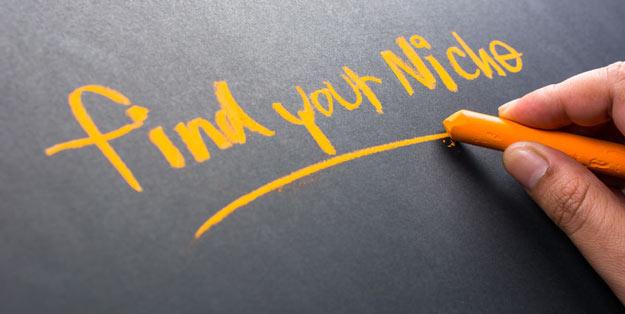 Find your niche written in yellow chalk