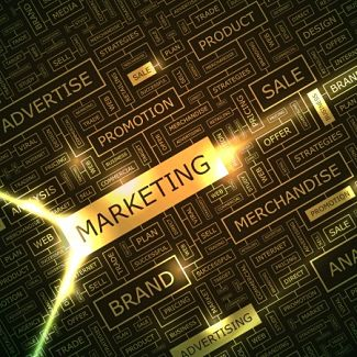 Marketing words on a gold grid resembling a computer chip