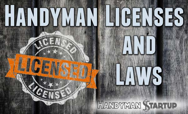 Wood background with Handyman Licenses and Laws