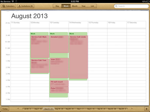example schedule 8-11-13