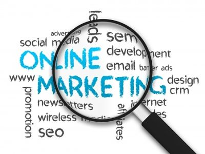 Magnifying glass over online marketing