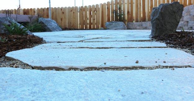 Leveled flagstone patio